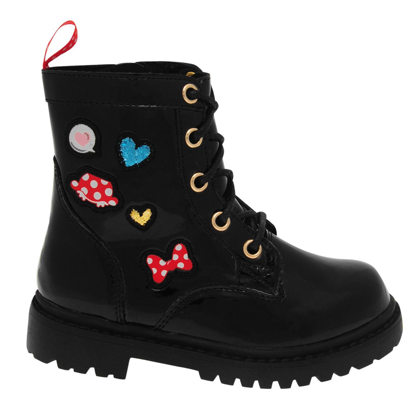 Details about Minnie Mouse Lace Boots Infants Girls Black Shoes Boot Kids  Footwear