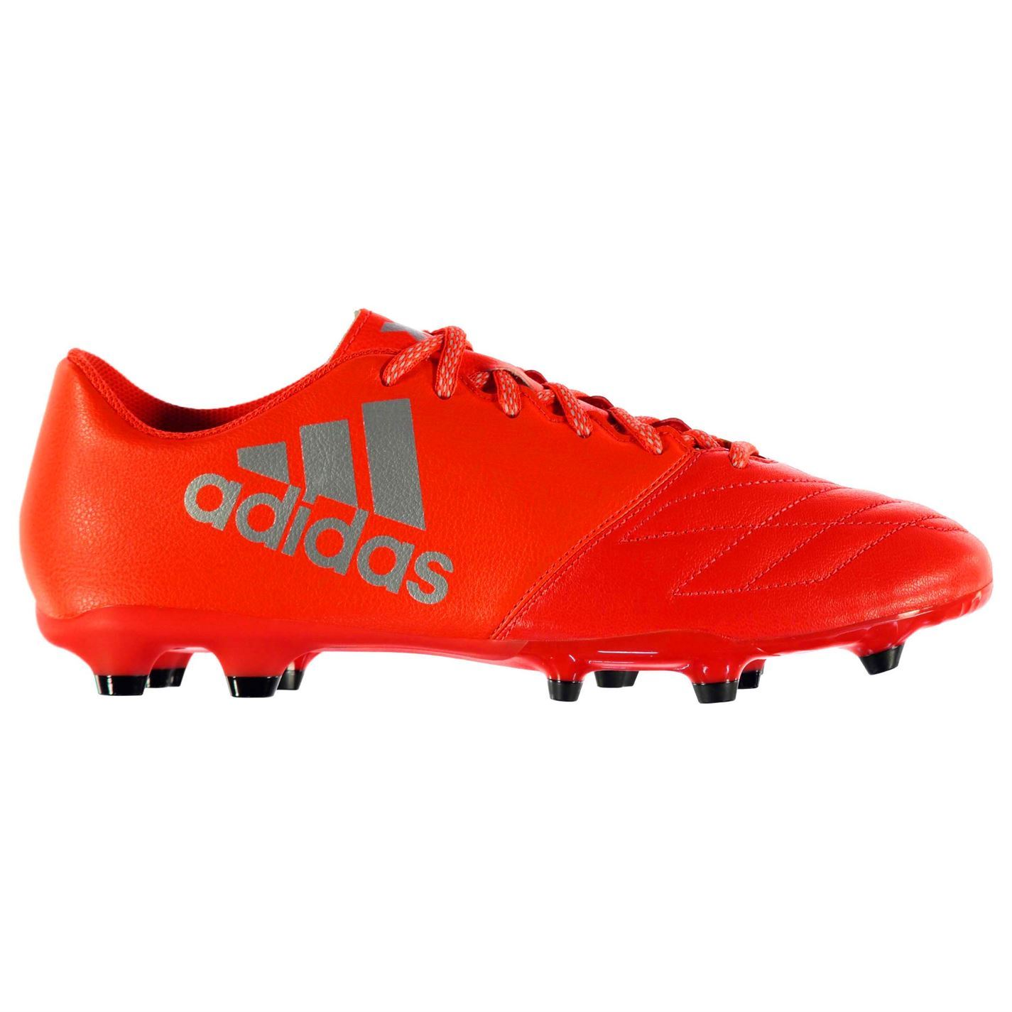 ... adidas X 16.3 Leather FG Firm Ground Football Boots Mens Red Soccer Cleats  Shoes ...