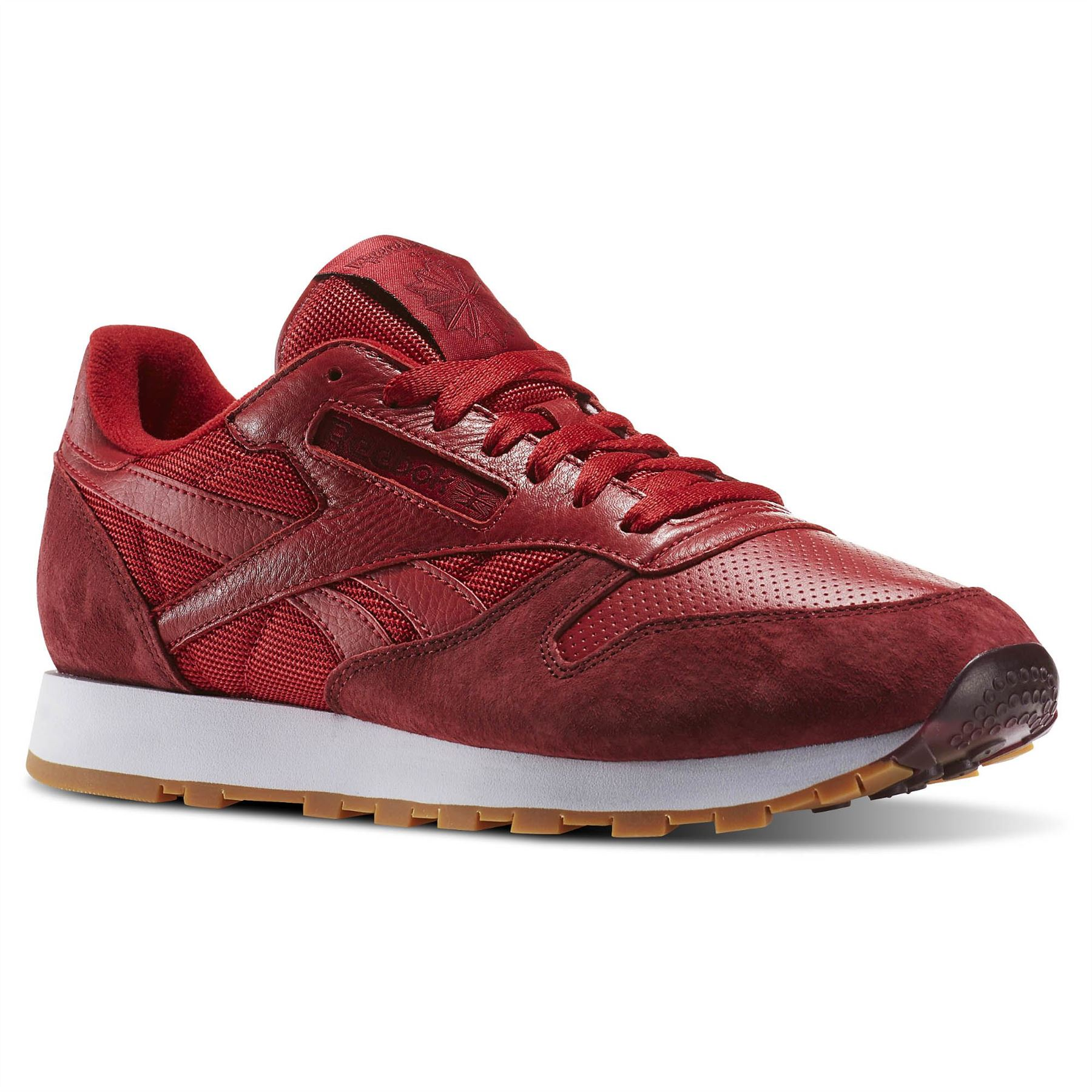 Details about Reebok Classic Leather Perfect Split Trainers Mens Red Footwear Shoes Sneakers