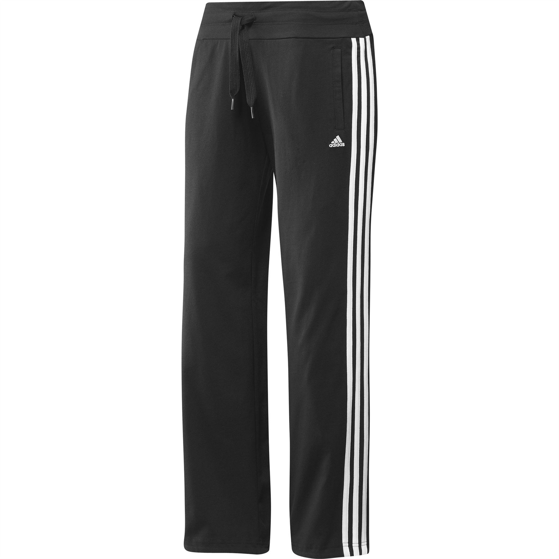 ... adidas Essentials 3 Stripe Knit Sweat Pants Black/White Womens Track  Bottoms ...