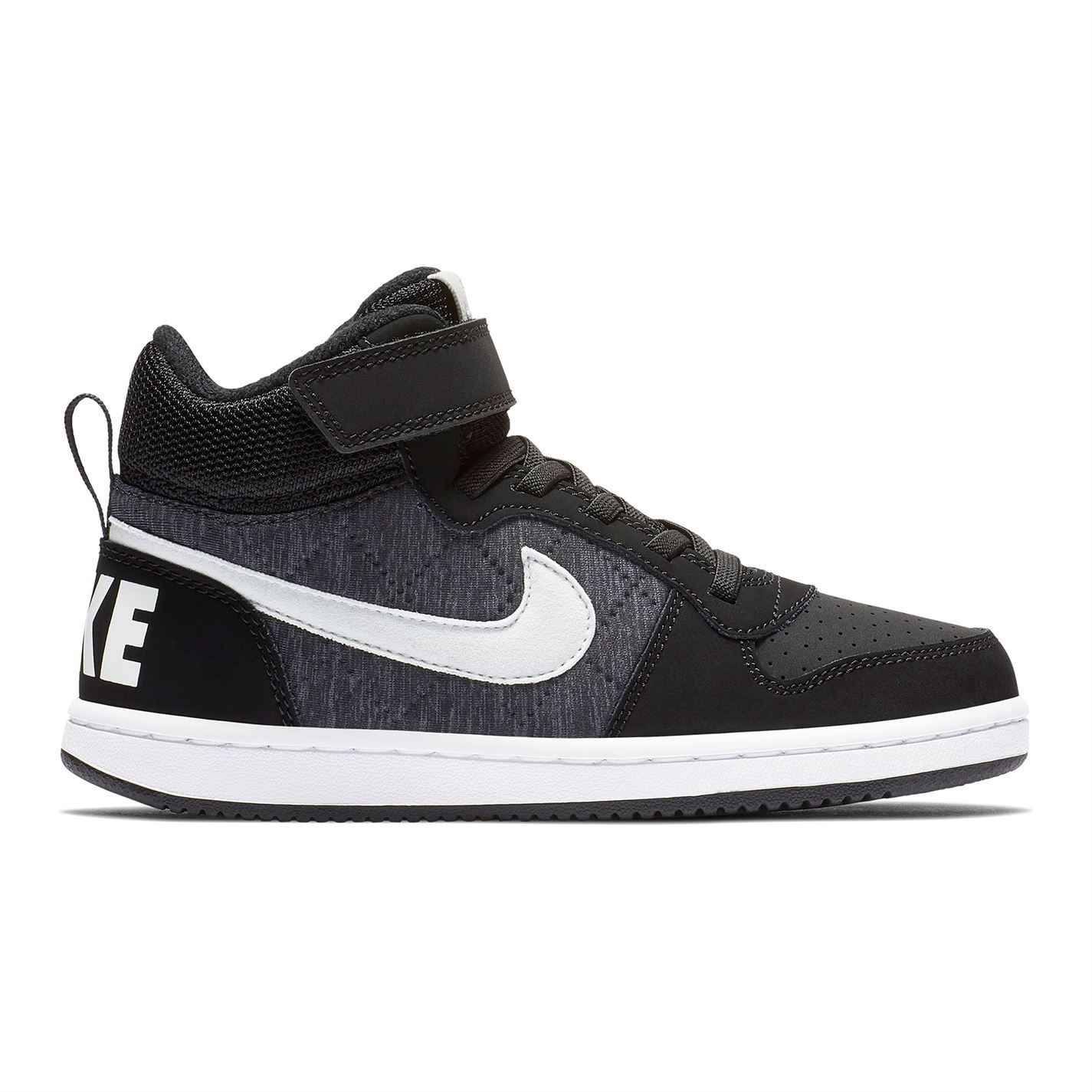 6a787ff036 ... Nike Court Borough Mid SE Child Boys Trainers Black Shoes Footwear ...