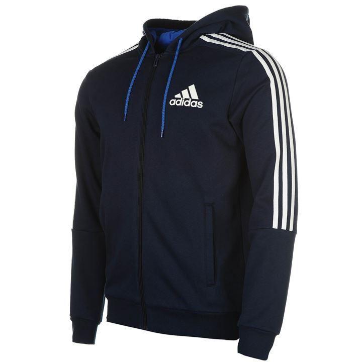 Details about adidas 3 Stripe Full Zip Hoody Mens Navy/White Hoodie Jacket  Top Sportswear