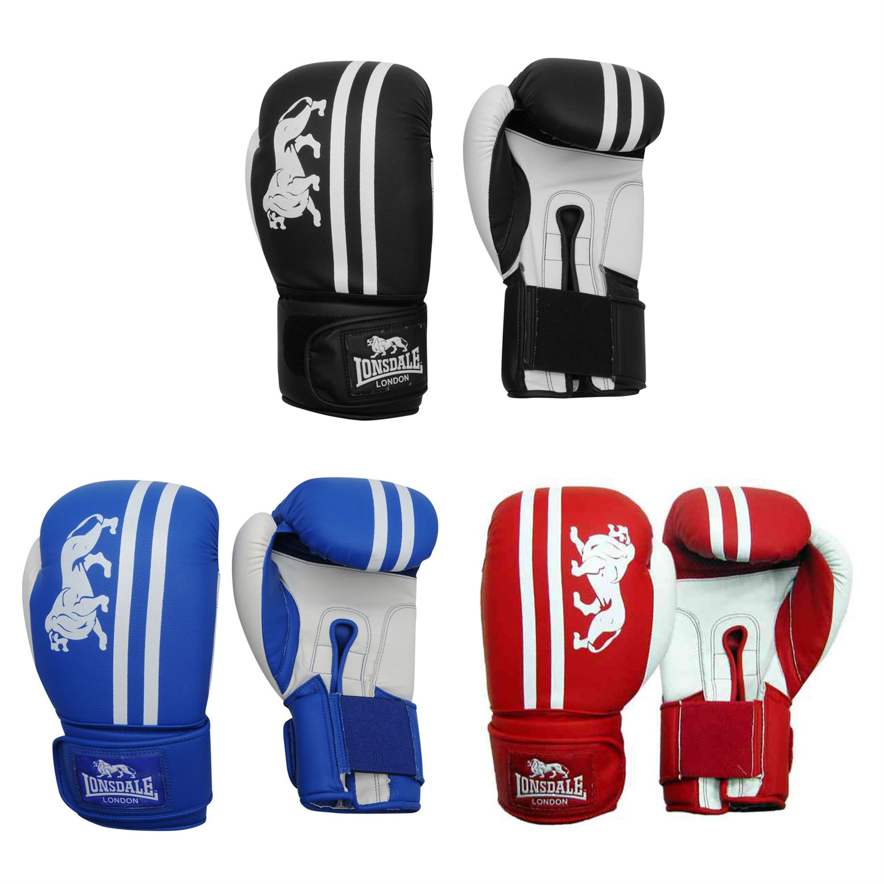 Lonsdale Club Sparring Boxing Gloves Black//White Gym Training Gloves
