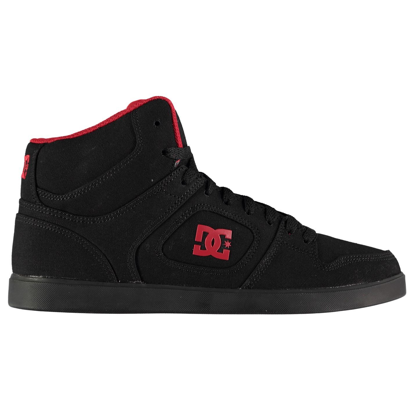 Dc Union High Top Skate Shoes Mens Black Red Skateboarding Trainers