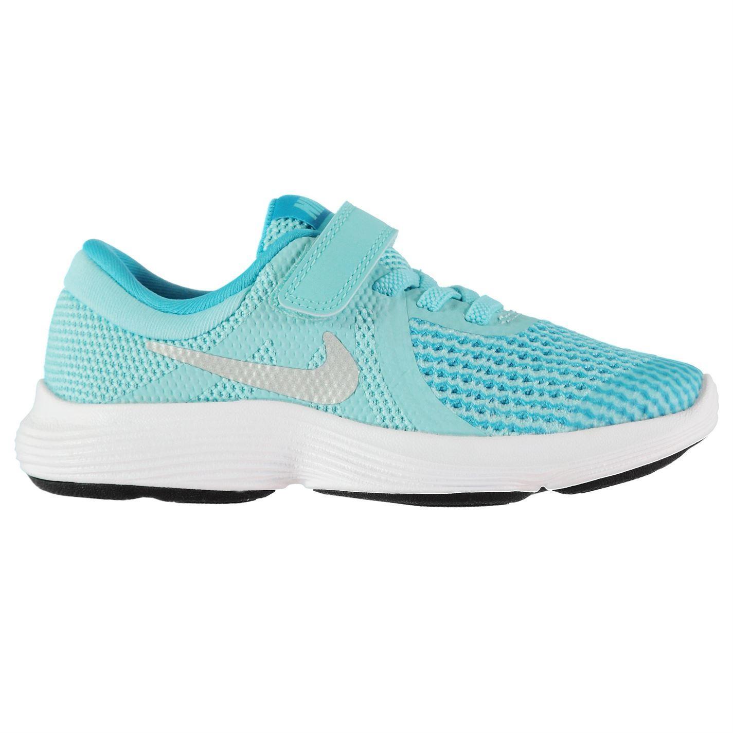 Nike Revolution 4 Child Girls Trainers BlueSilver Shoes Footwear