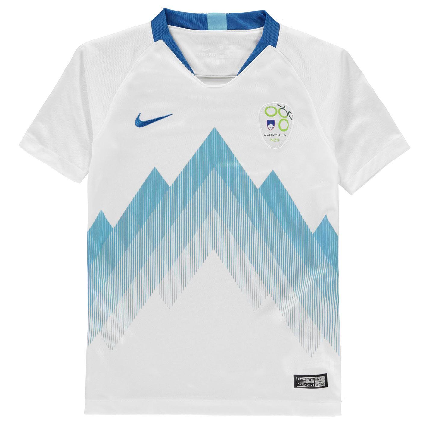 ee0a9dd0 ... Nike Slovenia Home Jersey 2018 Juniors White/Blue Football Soccer Fan  Shirt Top ...