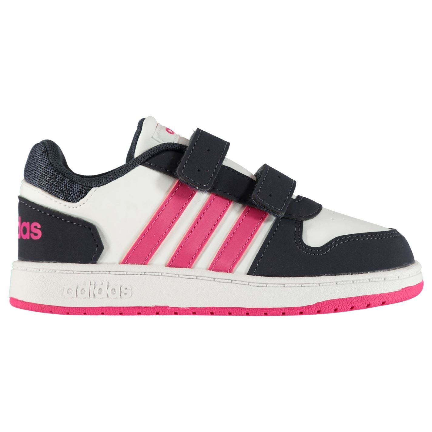 339147a596 ... adidas Hoops 2.0 Trainers Infant Girls White Pink Navy Shoes Footwear  ...