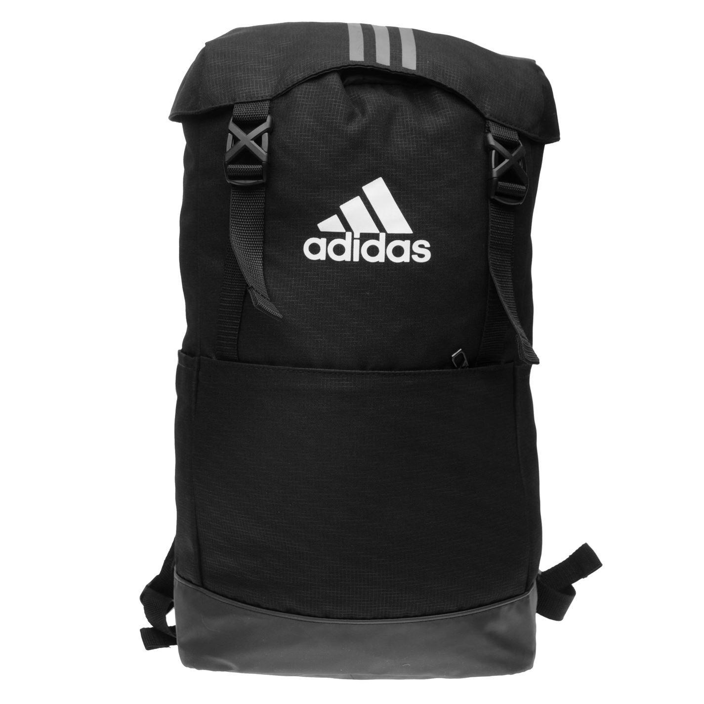 0b13335bb7 adidas 3 Stripe Performance Backpack Black Wht Sports Gym Bag Rucksack  Carryall