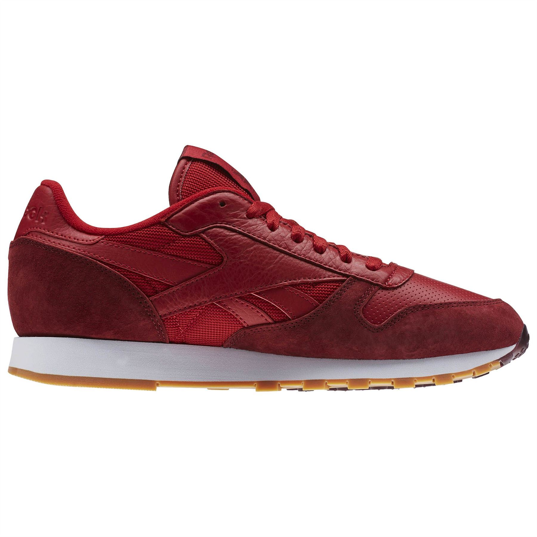 56b0064aa10e2d ... Reebok Classic Leather Perfect Split Trainers Mens Red Footwear Shoes  Sneakers