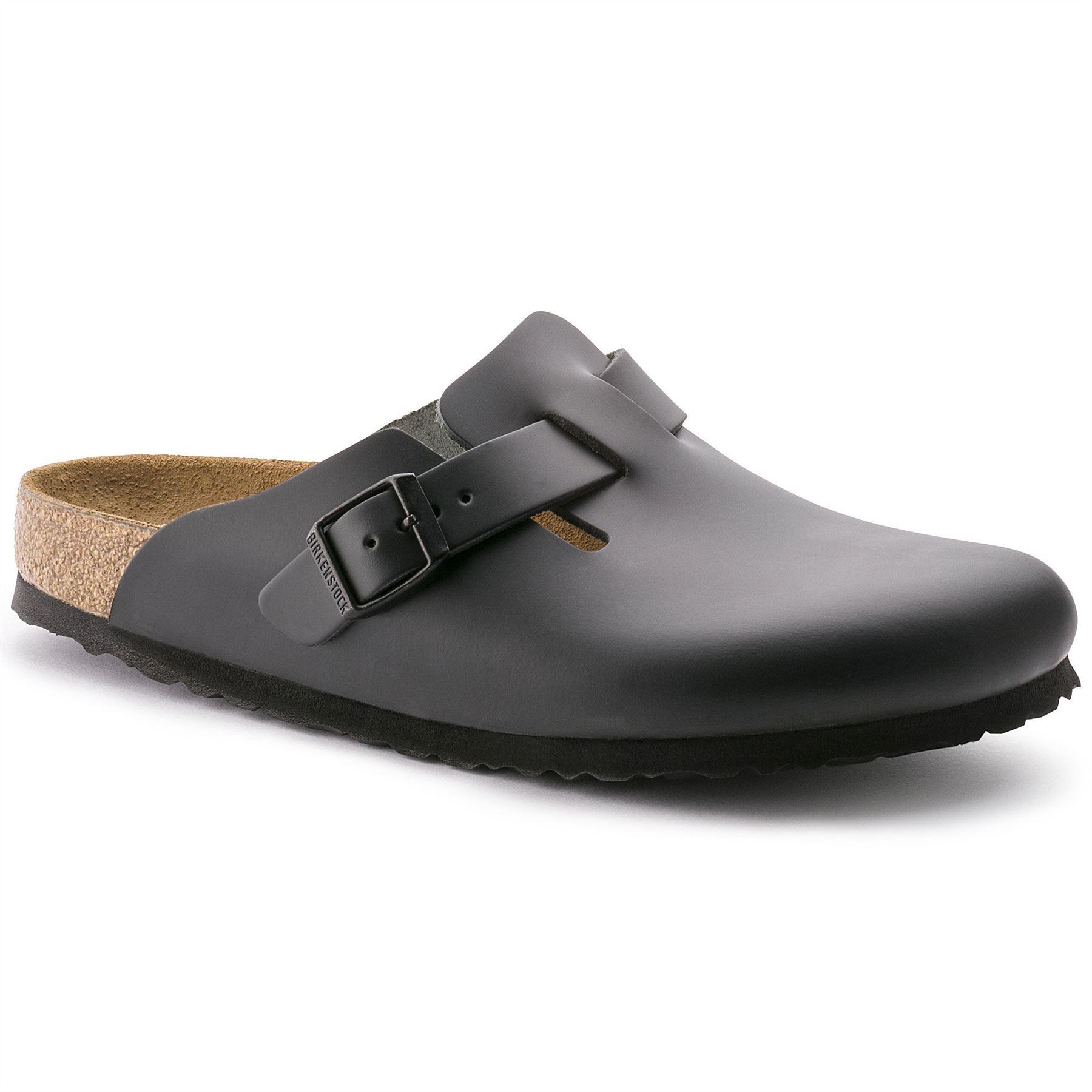 birkenstock boston mens leather clog sandals black shoes. Black Bedroom Furniture Sets. Home Design Ideas