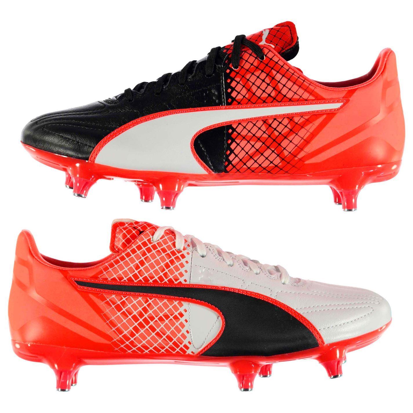 ... Puma evoSpeed 3.5 Leather SG Soft Ground Football Boots Mens Blk Rd Soccer  Shoes ... 19487f0b4