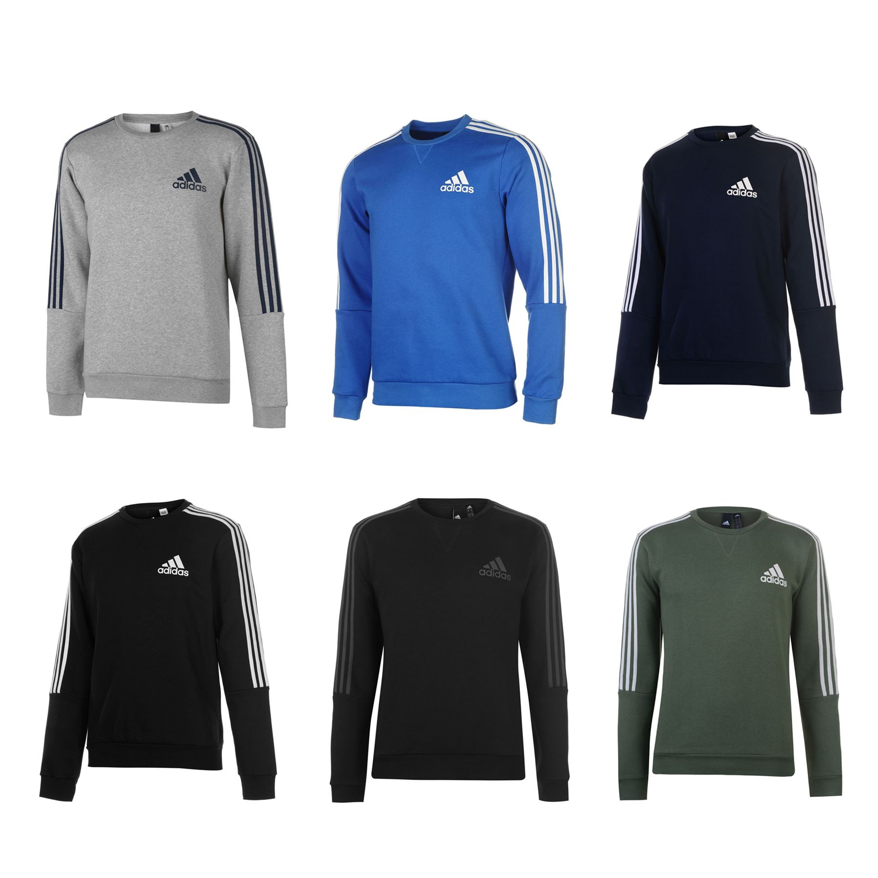 Details about adidas 3 Stripes Crew Sweatshirt Mens Sweater Top Jumper