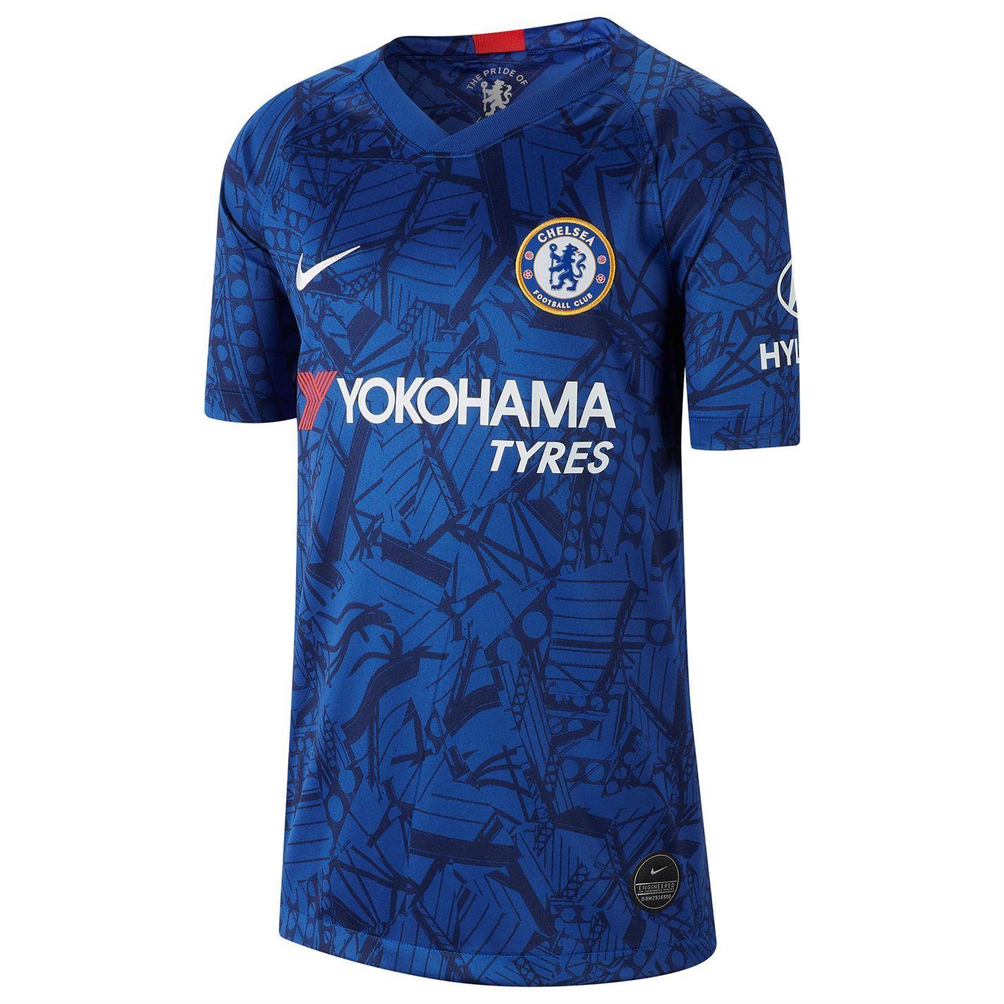 Détails sur Nike Chelsea Maillot Domicile 2019 2020 Juniors BleuBlanc Football Haut Jersey
