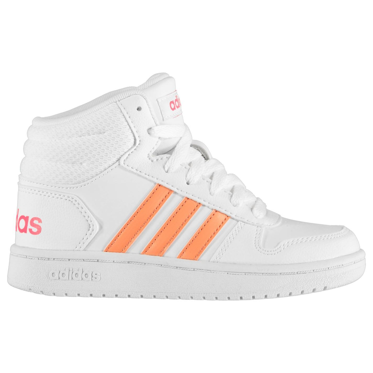 Details about adidas Hoops Mid Top Trainers Child Girls Shoes Casual WhiteCoral Footwear