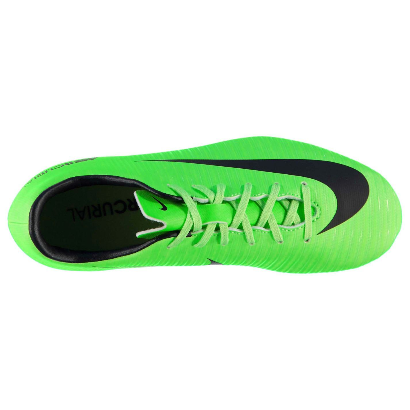 fdf0e2dda99 ... Nike Mercurial Vapor Firm Ground Football Boots Juniors Green Black  Soccer Shoes
