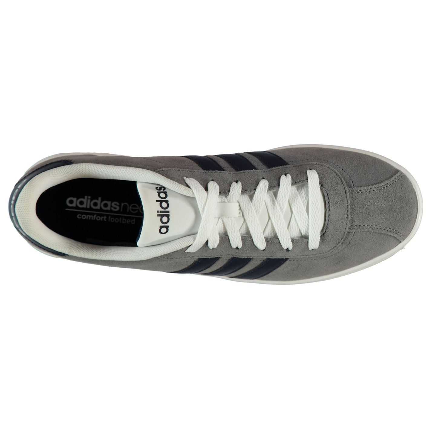 5867b41d4 ... Adidas VL Neo Court Suede Trainers Mens Grey Navy White Casual Sneakers  Shoes