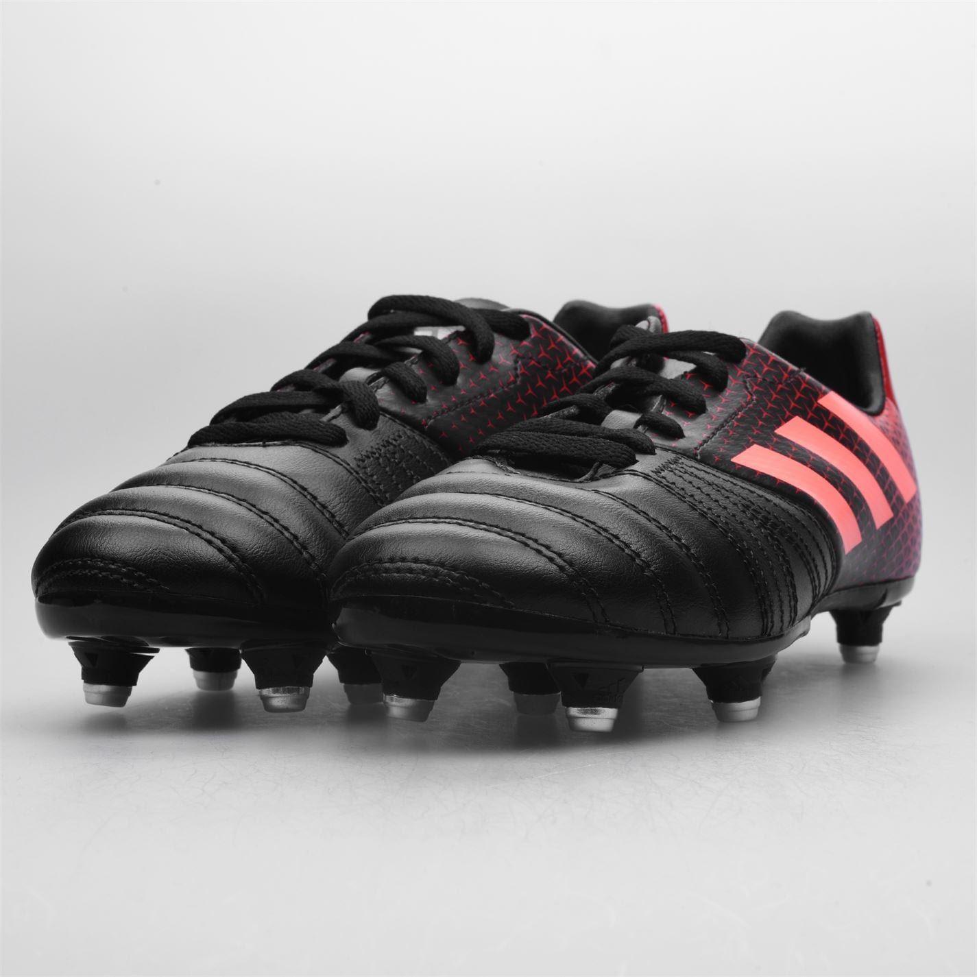 Détails sur Adidas Kakari Souple Sol Chaussures de Rugby Hommes NoirRouge Football Cale