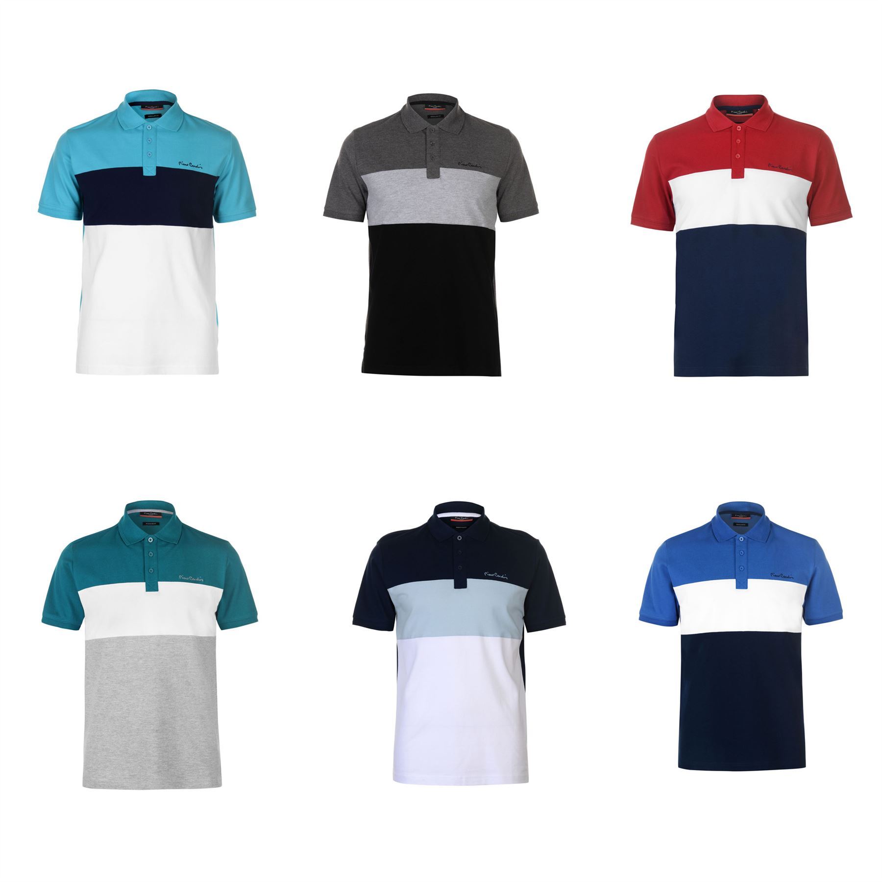 Details about Pierre Cardin Panel Polo Shirt Mens Top Tee Casual T Shirt