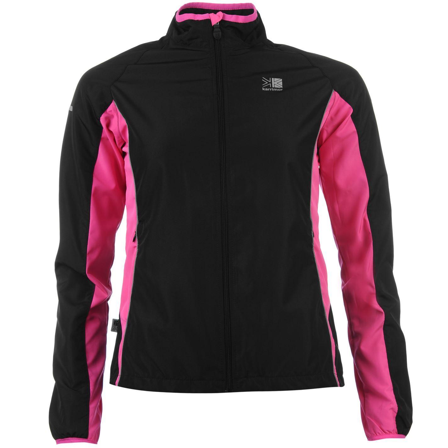 ec3e3fef4d08 Karrimor Running Jacket Womens Black Pink Run Jogging Track Top Sportswear