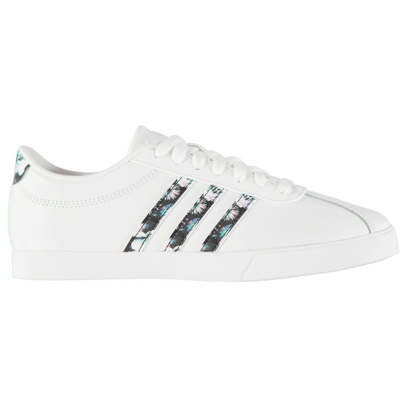 fe0ecbac2c657a ... adidas Court Set Leather Trainers Womens White Blue Sports Trainers  Sneakers ...