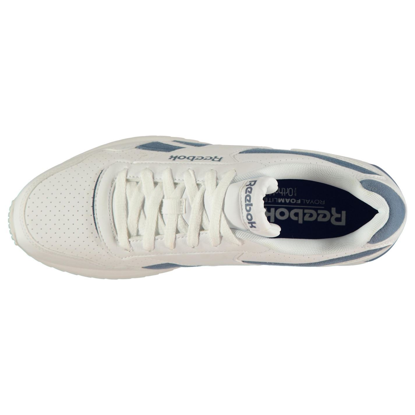 b4b19fa99ed Reebok Royal Glide Ripple Clip Trainers Mens White Blue Sports Shoes  Sneakers