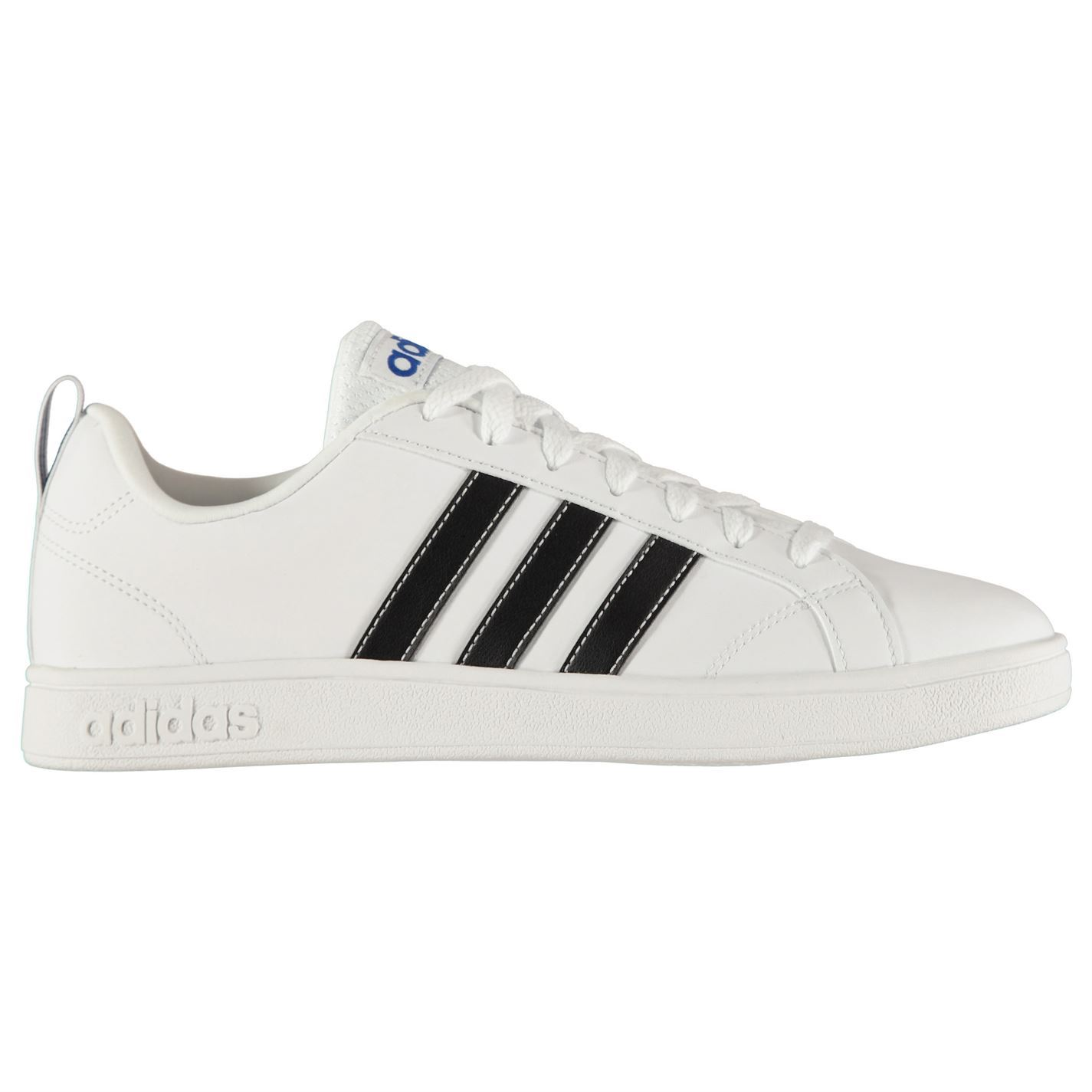 Adidas Cf Advantage Mens White Leather Low Top Lace Up Sneakers Shoes