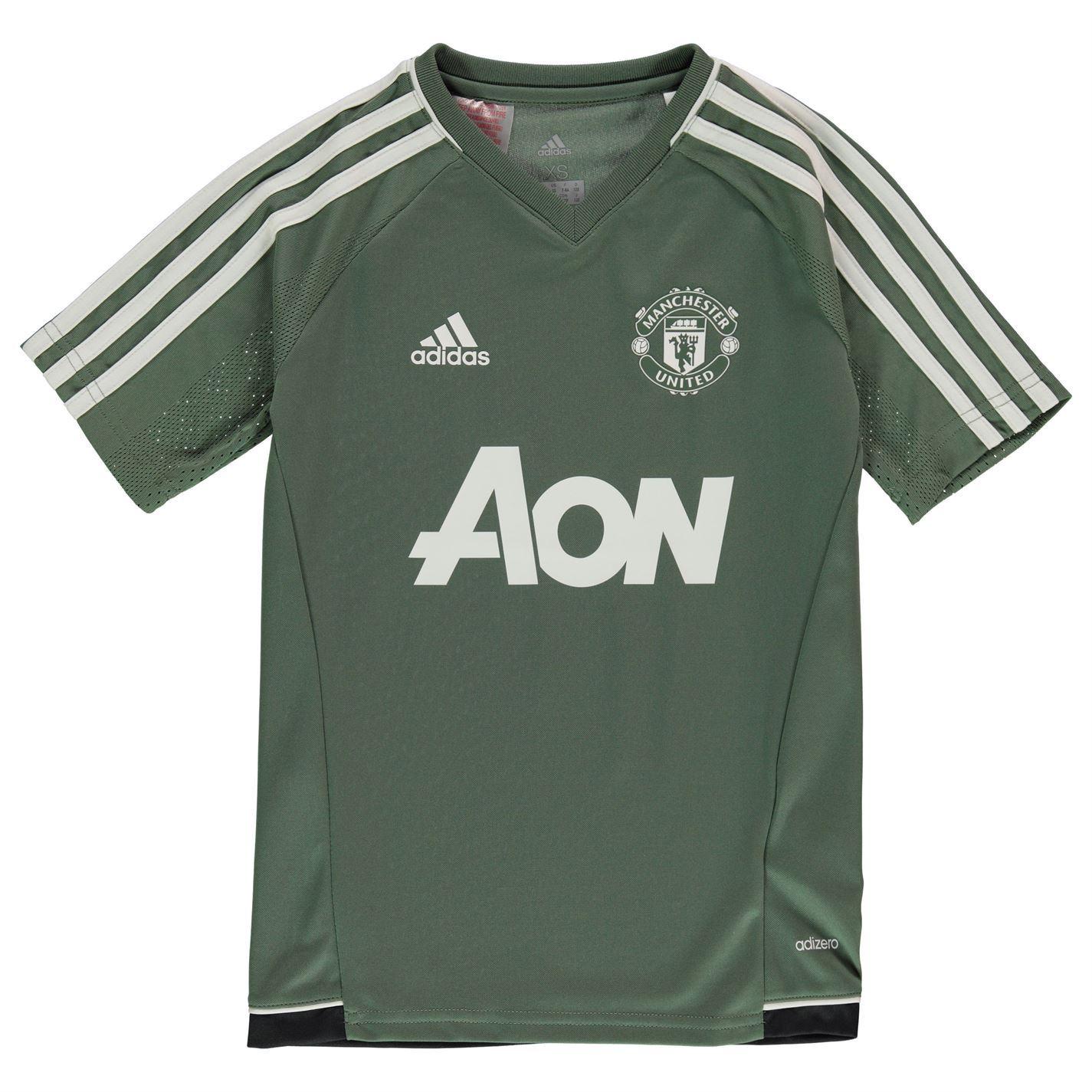 4cdd65837 ... adidas Manchester United Training Jersey Juniors Green Football Soccer  Shirt Top ...