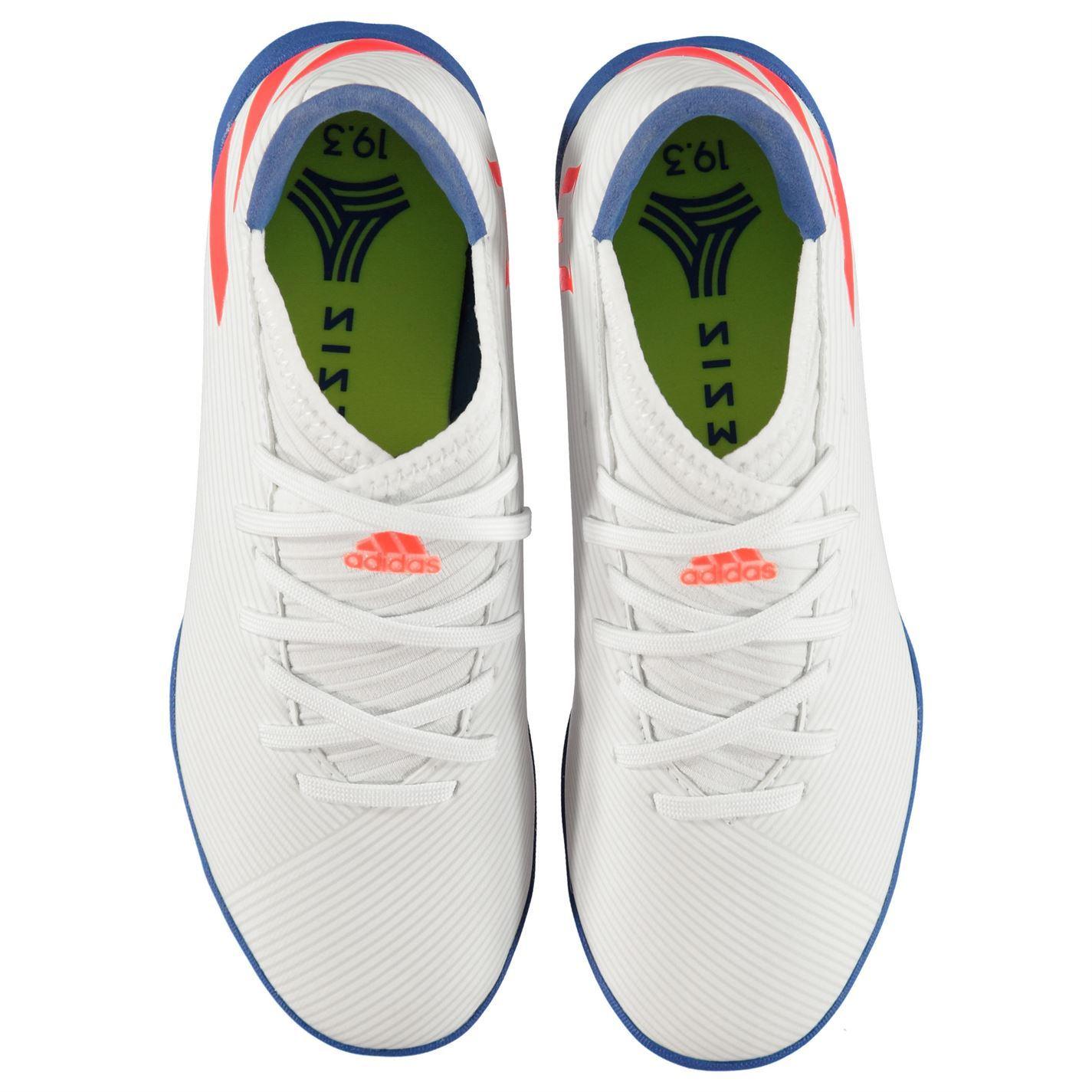 Details about adidas Nemeziz Messi 19.3 Astro Turf Football Shoes Juniors White Soccer Trainer