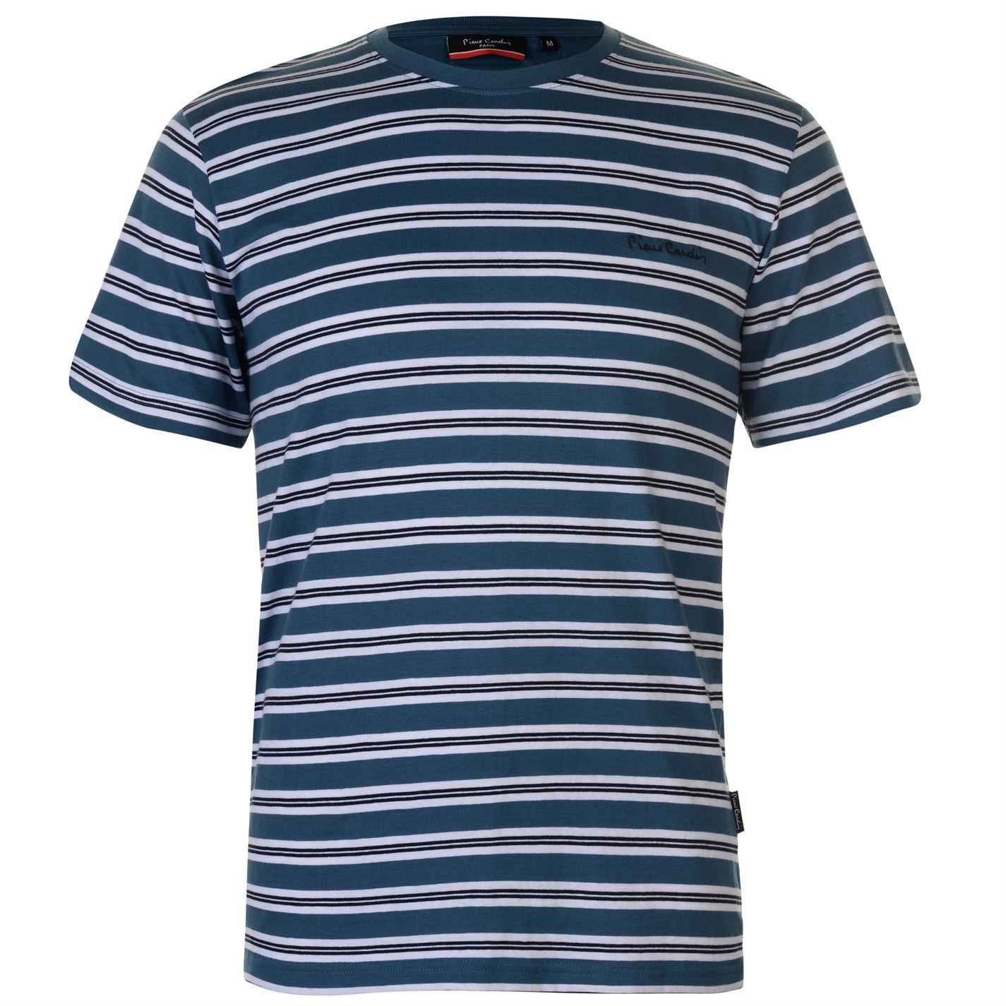e9a2136ac6 Details about Pierre Cardin Striped T-Shirt Mens Blue/White Tee Shirt Tshirt  Top