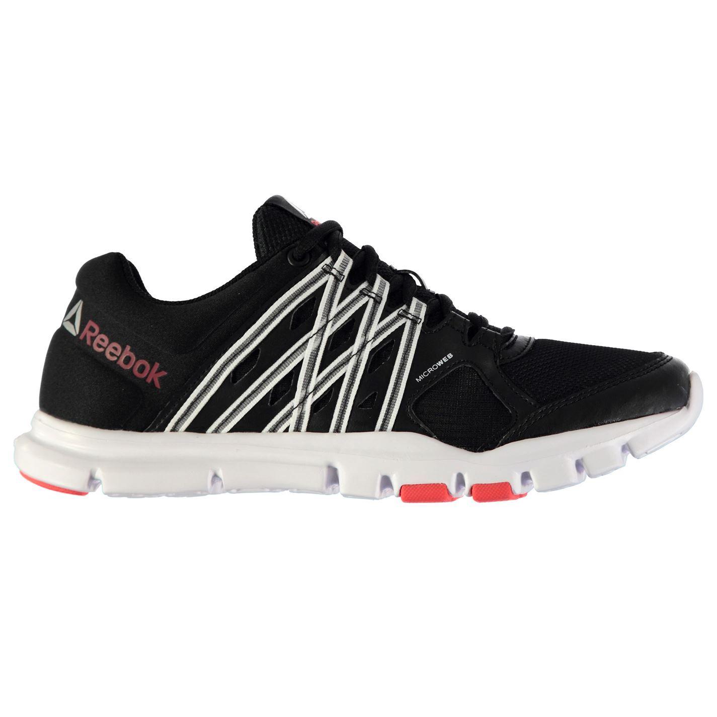 Details about Reebok YourFlex Trainers Womens BlkWhtCherry Sneakers Sports Shoes Footwear