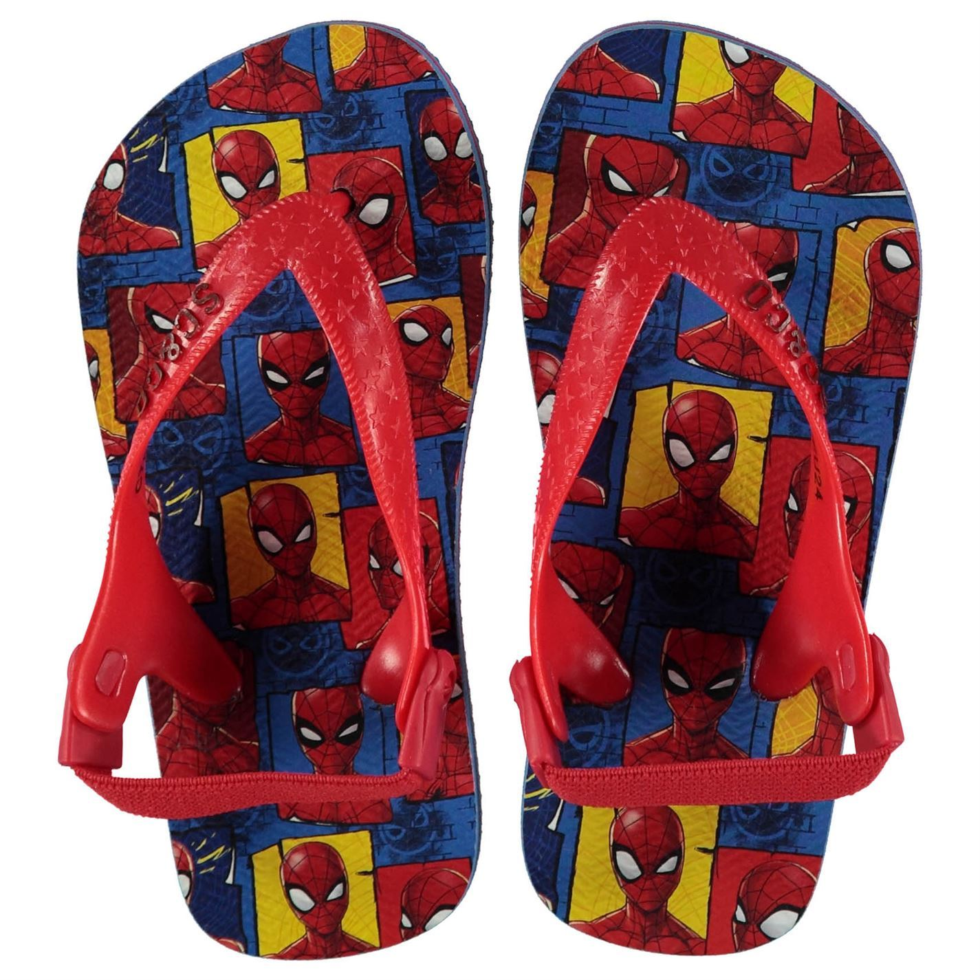 Boys Flip Flop style Sandals with Spiderman detail and elasticated back