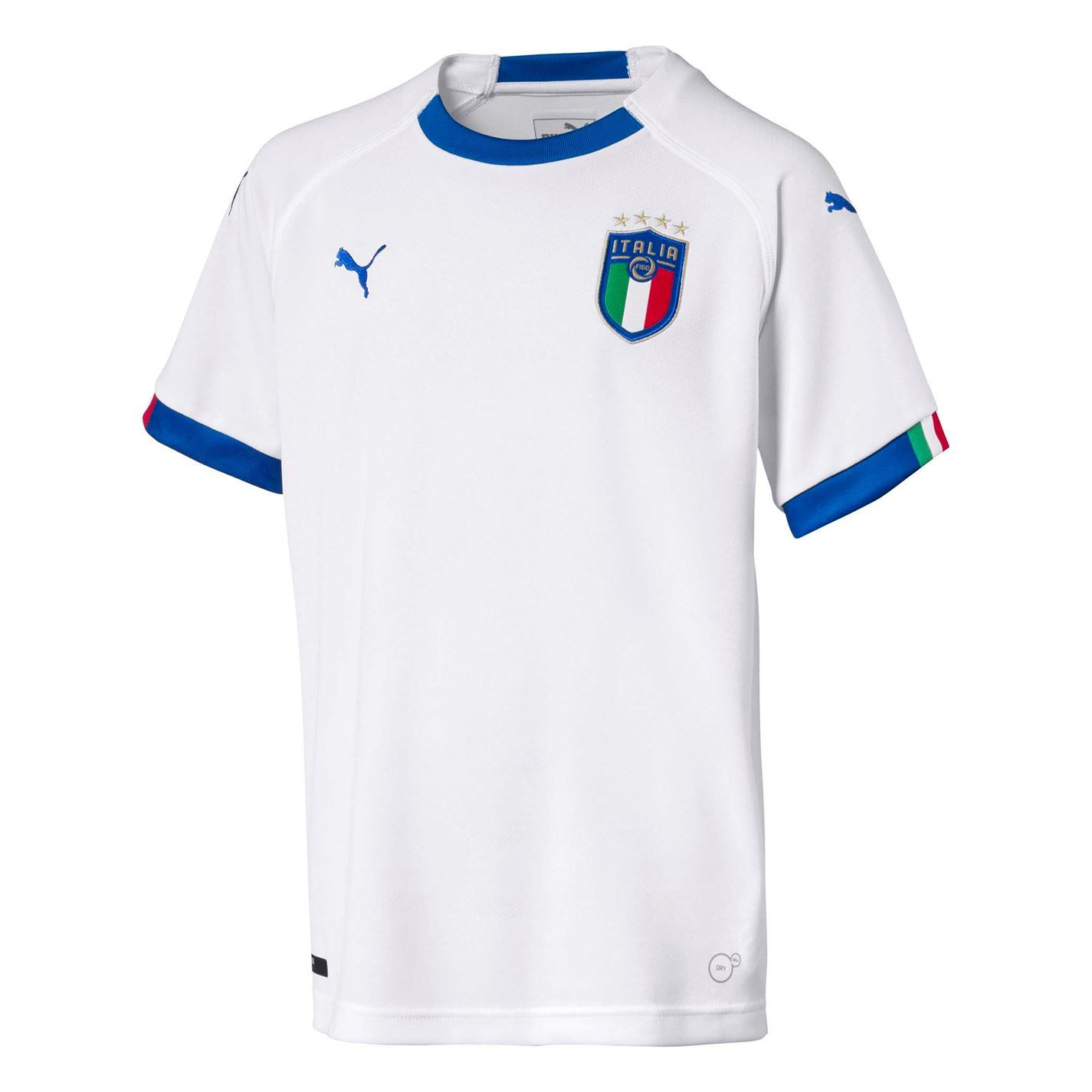 18f2a35275aa Puma Italy Away Jersey 2018 Italia Juniors White Blue Football Soccer Shirt  Top