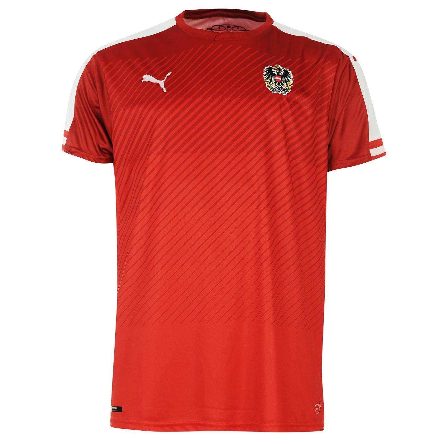 ... Puma Austria Home Jersey 2016 Mens Red White Football Soccer Top Shirt  ... d5433d8db