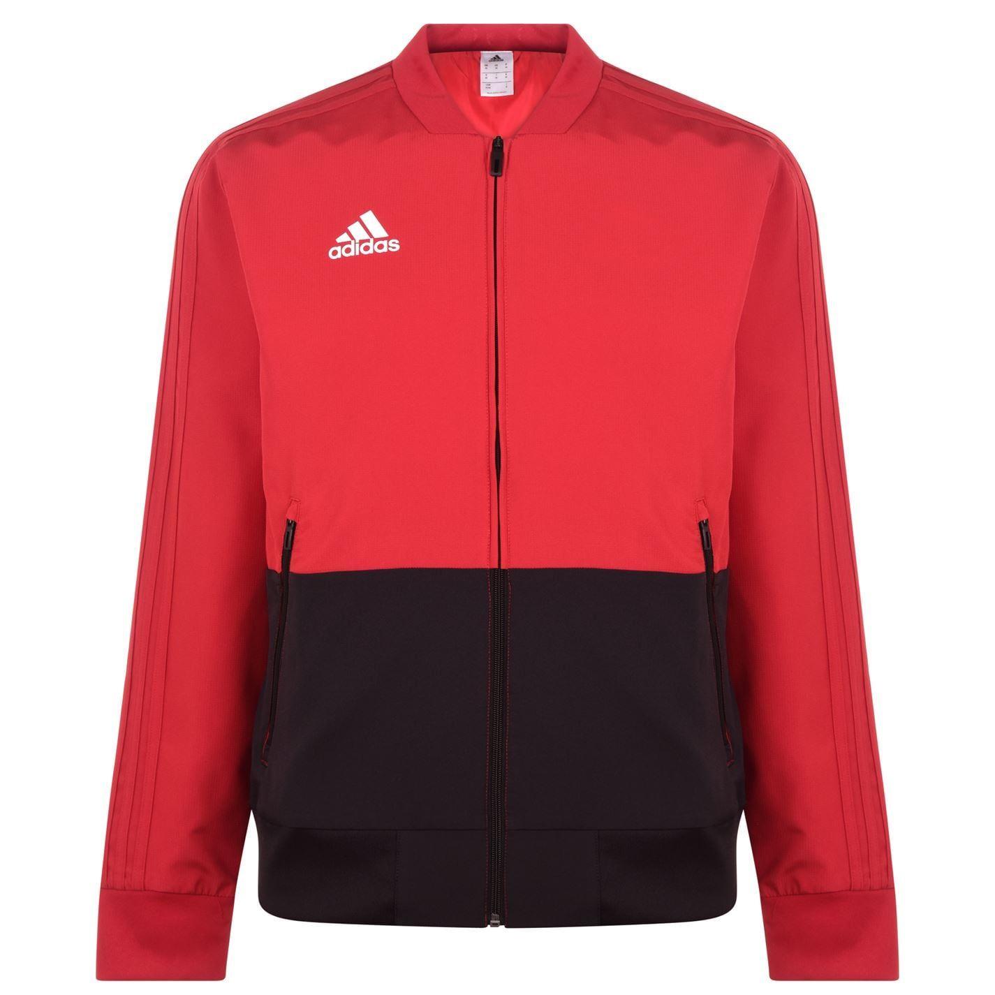 Détails sur Adidas Pré Match Survêtement Veste Hommes RougeNoir Football Piste Haut