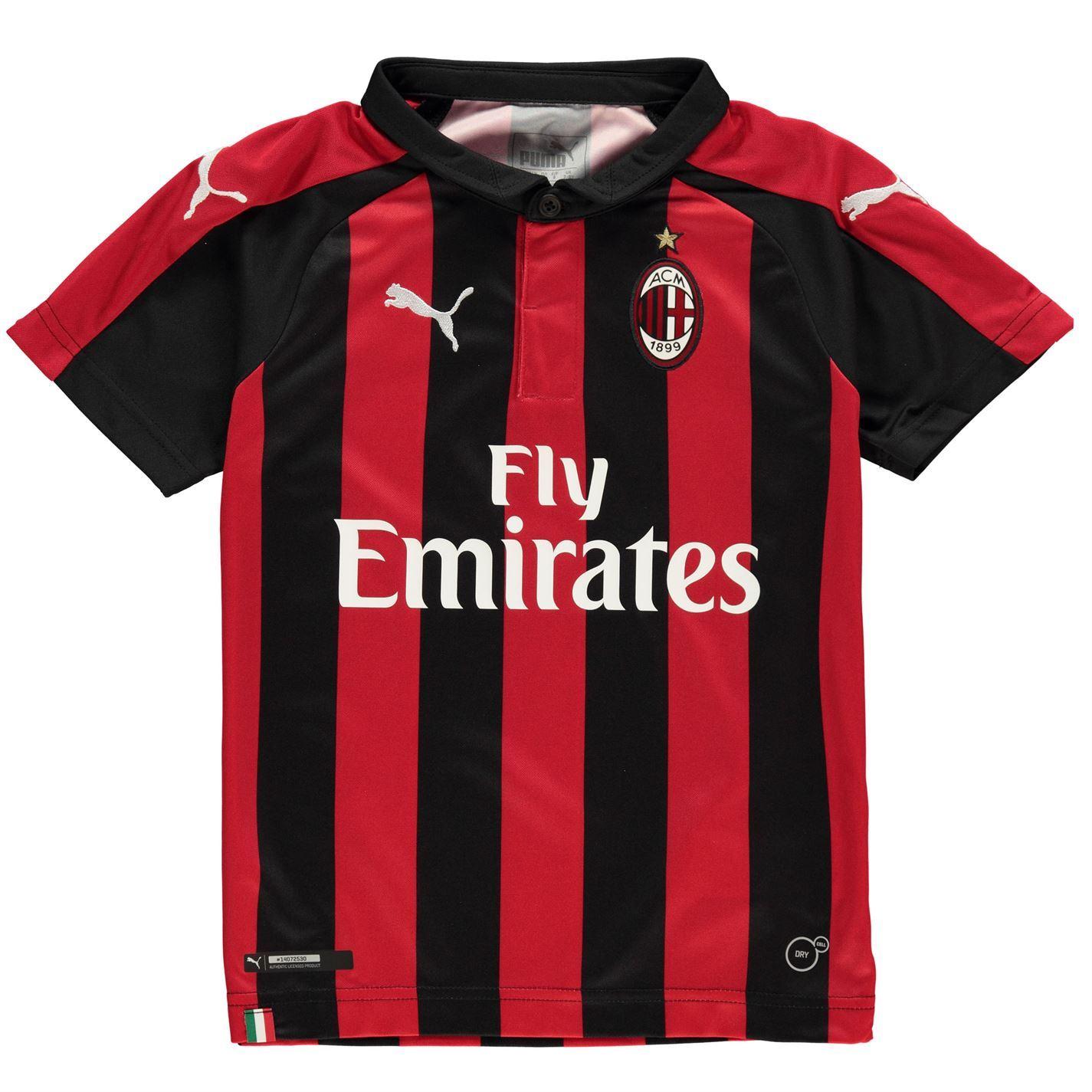 new style 9d008 3532e Details about Puma AC Milan Home Jersey 2018 2019 Juniors Red/Black  Football Soccer Shirt Top