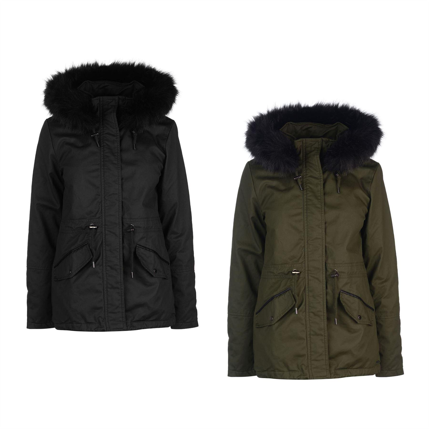 Firetrap Womens Petie Parka Jacket Coat Top Cotton Hooded Fur Trim Faux