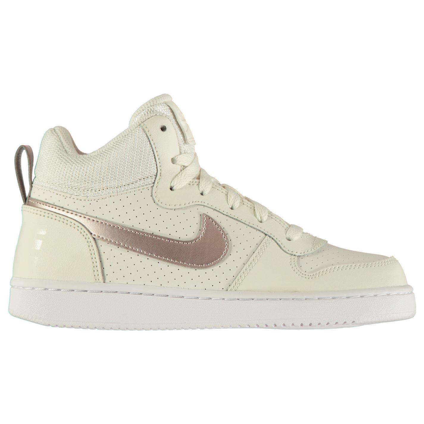 867c7021fea3f7 ... Nike Court Borough Junior Girls Mid Top Trainers Grey Bronze Shoes  Footwear ...