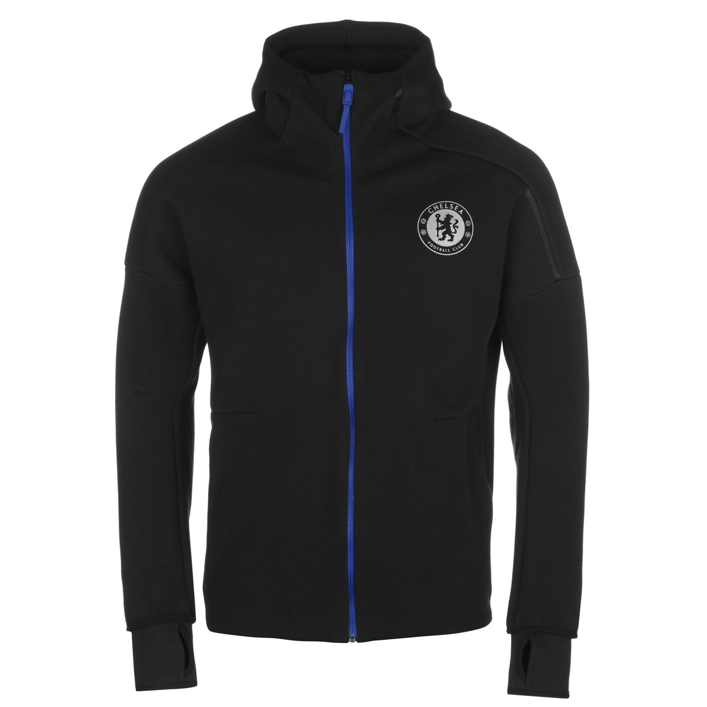 adidas Chelsea FC ZNE Hoody Jacket Mens Black Football Soccer Hoodie Sweater cce4a1ae186b4