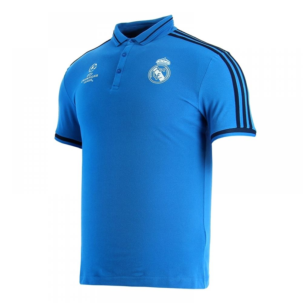 ... adidas Real Madrid UEFA Champions League Polo Shirt Mens Blue Football  Soccer ...