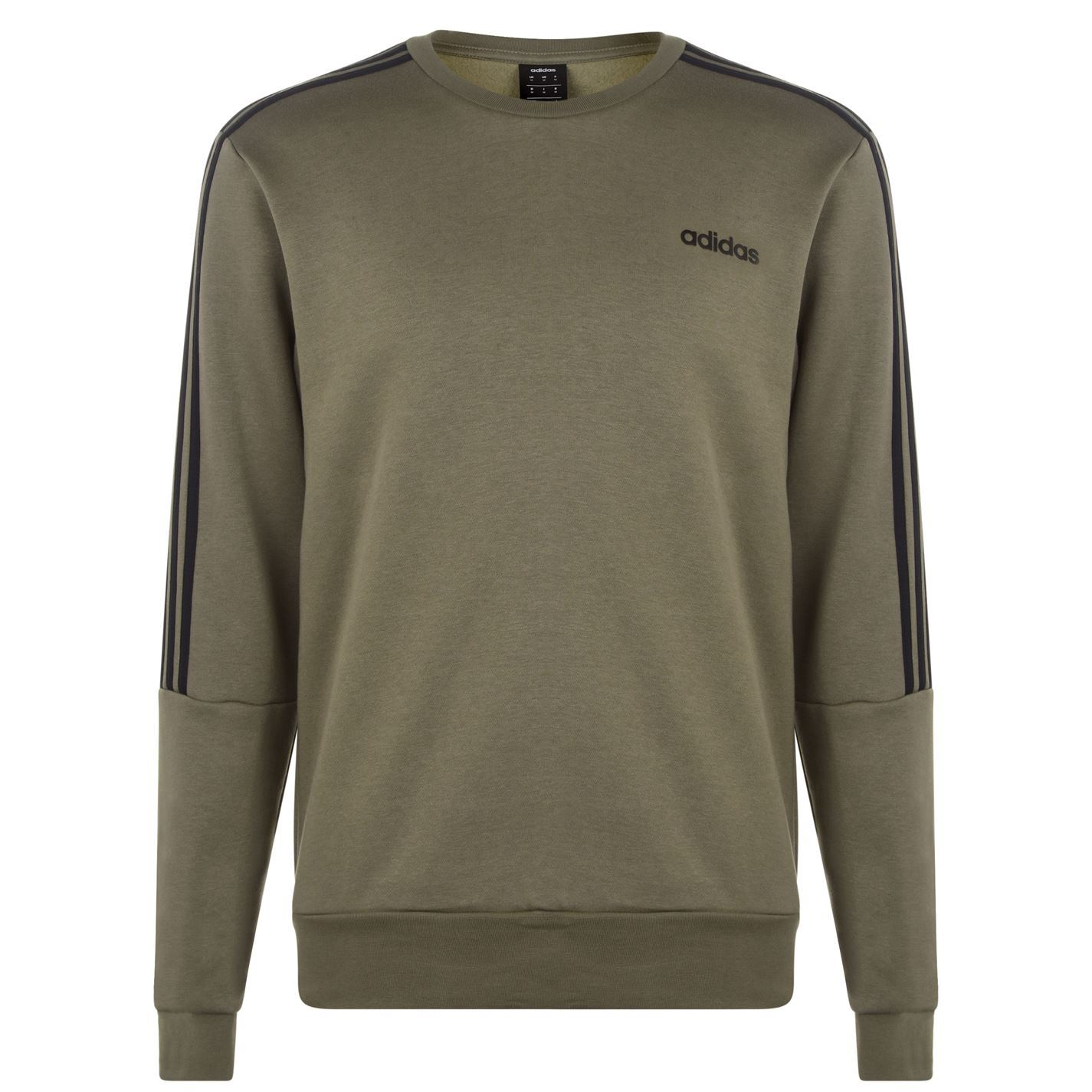 Details about adidas 3 Stripes Crew Sweatshirt Mens KhakiBlack Top Sweater Jumper