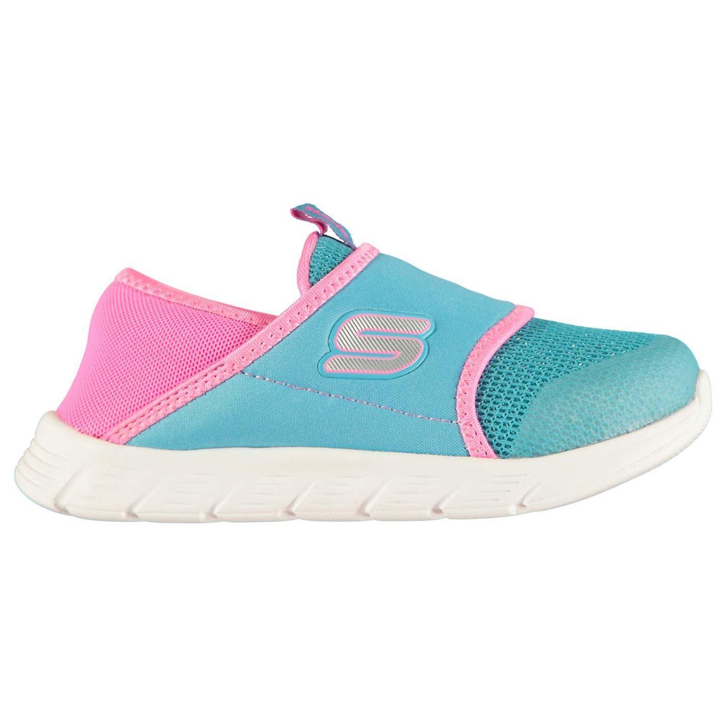Détails sur Skechers Confortable Flexible Chaussures Enfant Fille BleuRose Baskets