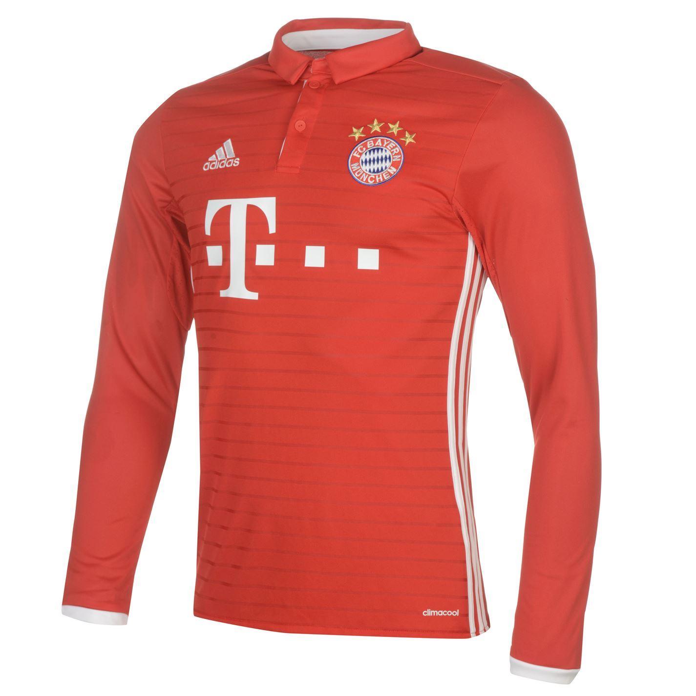 ... adidas Bayern Munich 2016 Home Jersey Mens Red White Football Soccer  Shirt Top 588afaadc76c8
