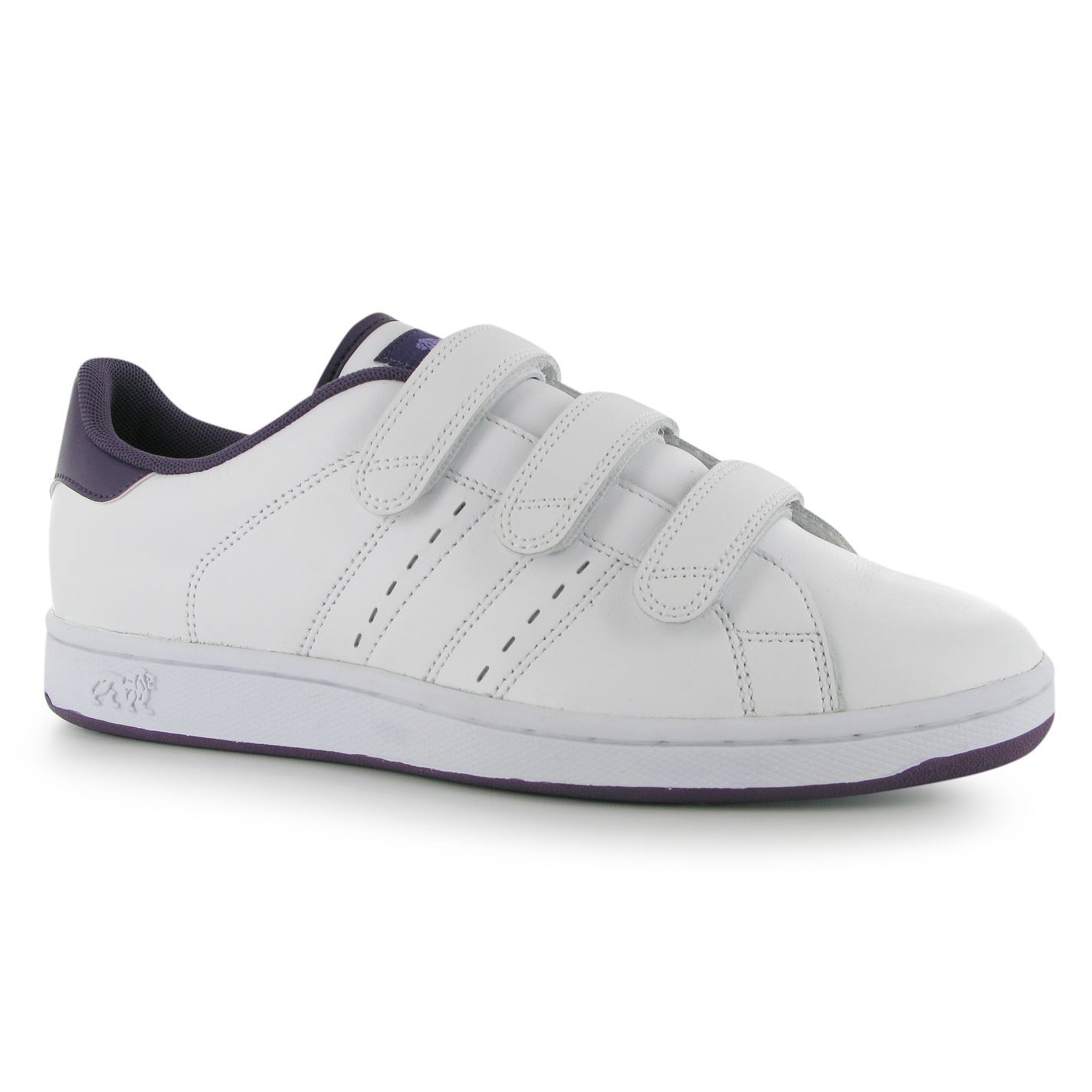 Lonsdale Leyton Hook & Loop Trainers Womens White/Purple Fashion Sneakers Shoes