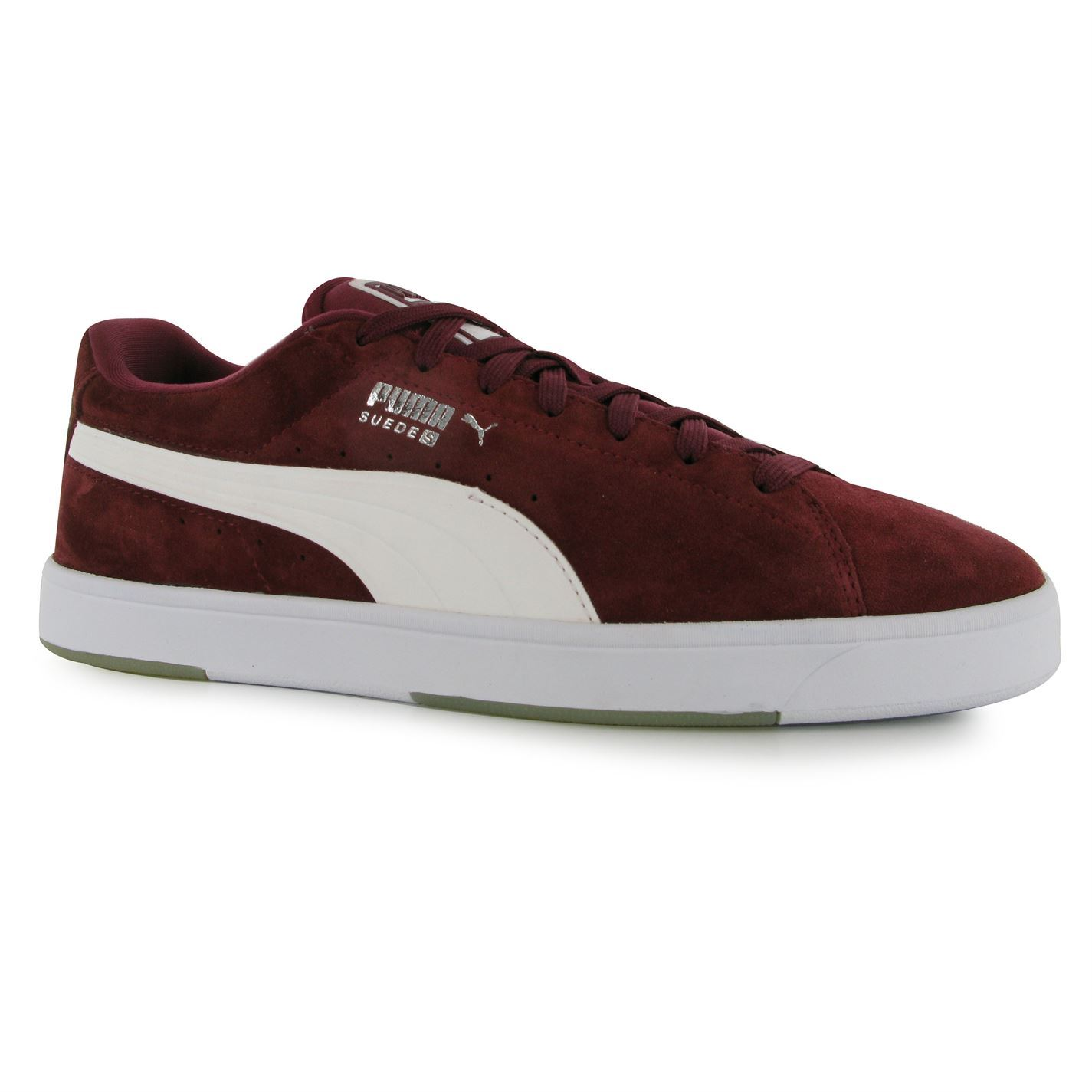 ... Puma Suede S Trainers Mens Burgundy White Casual Sneakers Shoes  Footwear ... f067f1060