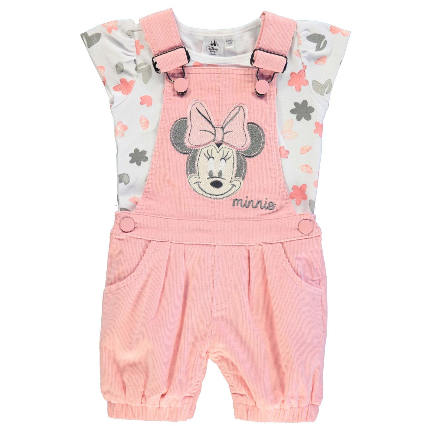 Disney Minnie Mouse Two Piece Dungaree Set Babies Pink White Clothes