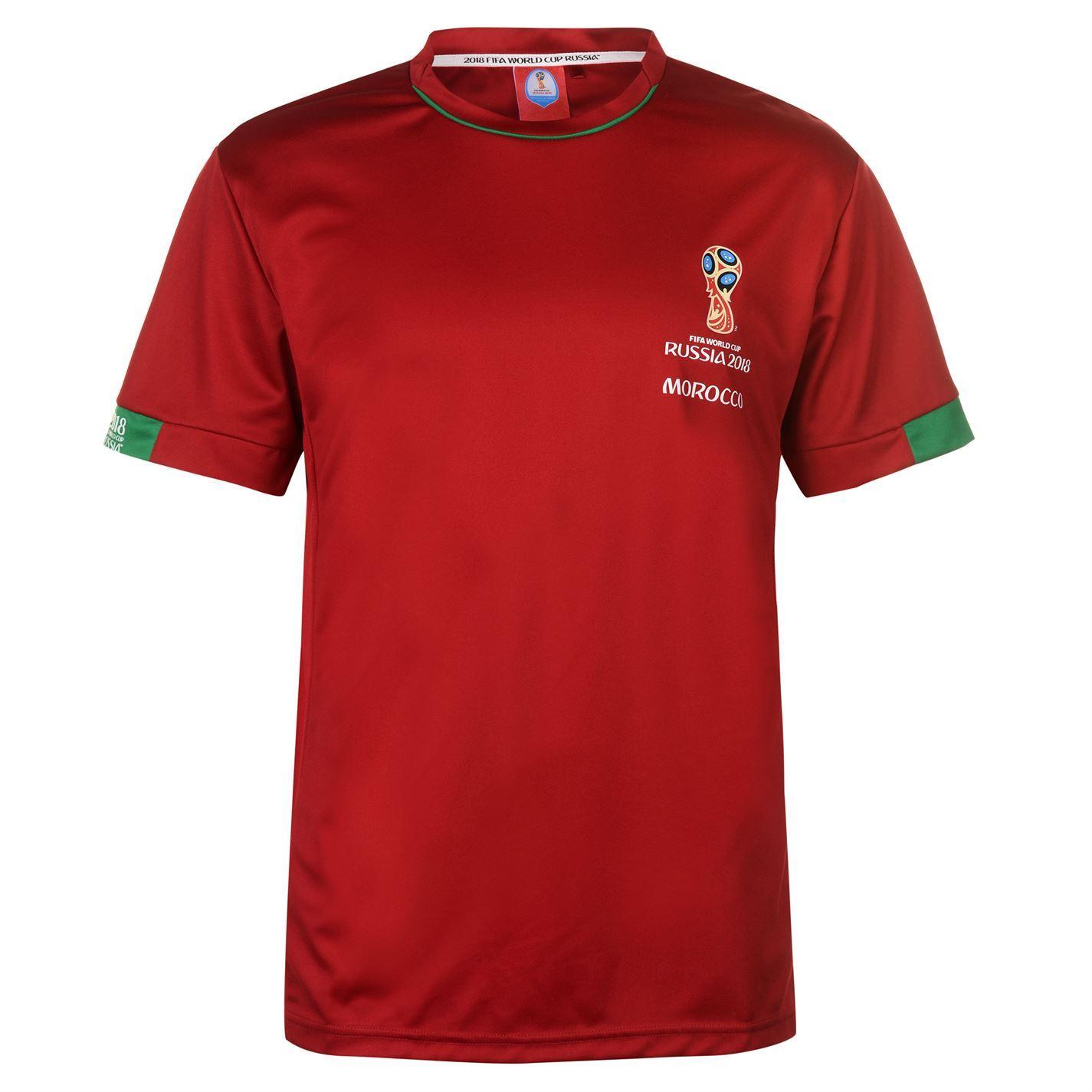 3ca7b2a9a ... FIFA World Cup 2018 Morocco T-Shirt Mens Red Football Soccer Tee Shirt  ...