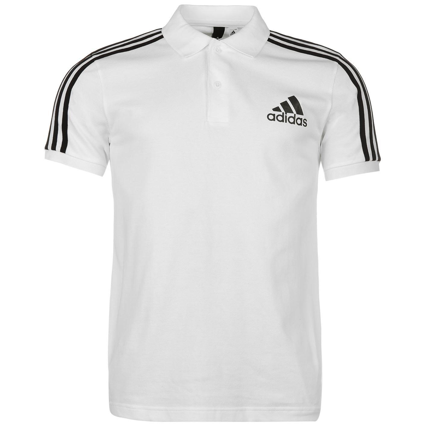 07f5822c adidas 3 Stripes Logo Polo Shirt Mens White/Black Collar T-Shirt Top  Sportswear