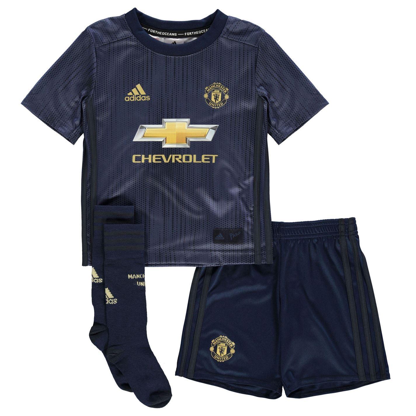 60c4179c adidas Manchester United 3rd Mini Kit 2018-19 Infants Navy Football Soccer  Strip