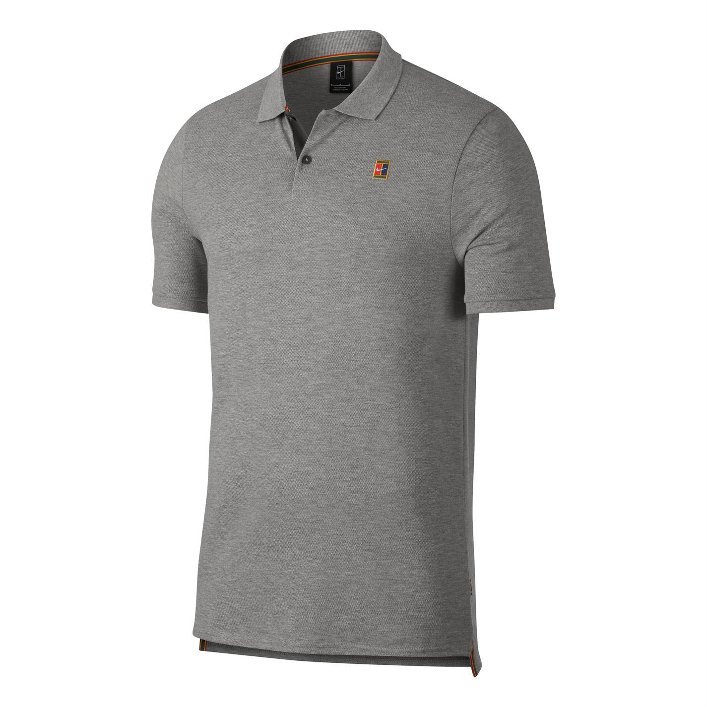 Detalles de Nike Tribunal Heritage Tenis Polo Hombre Gris Activewear Camiseta Pequeño