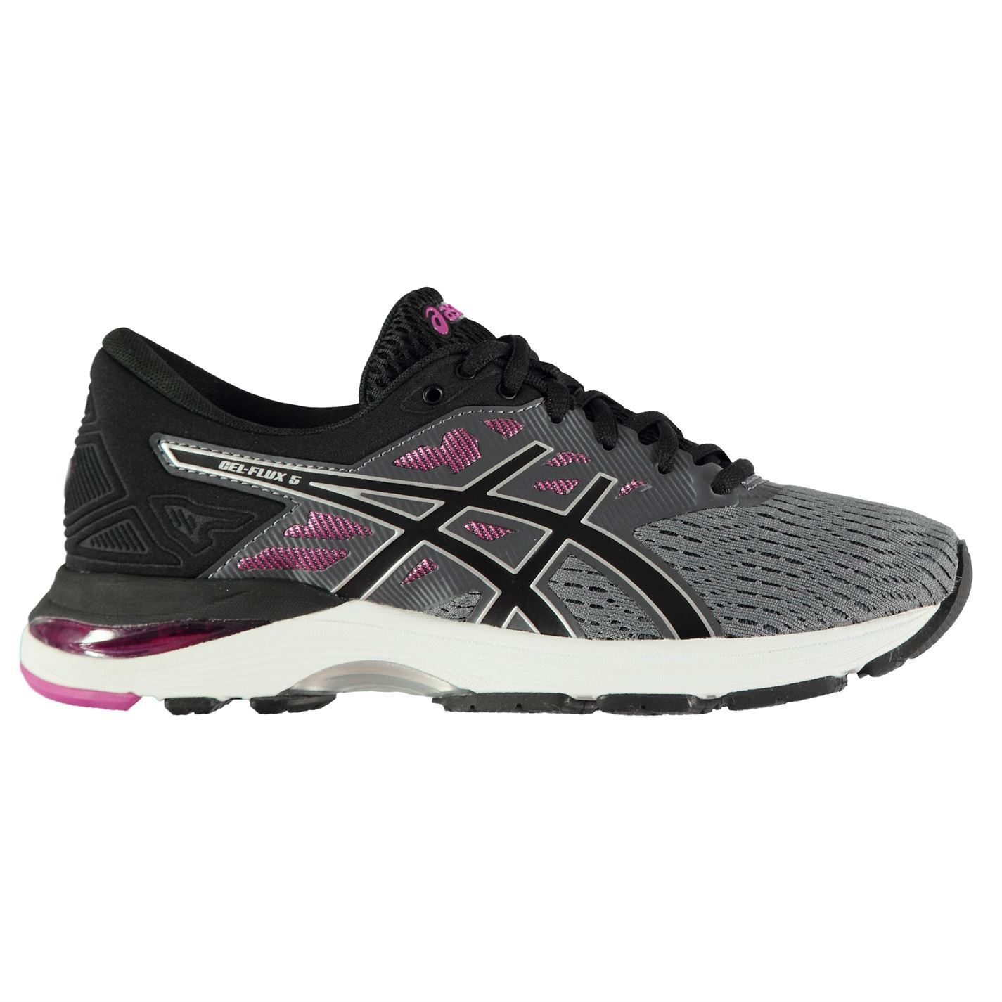 ... Asics Gel Flux 5 Running Shoes Womens Grey Black Red Jogging Trainers  Sneakers ... ef6b16bf8